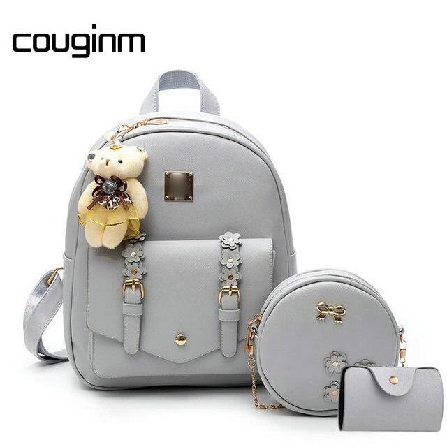 be688751ec COUGINM New Women Composite Backpacks Floral PU Leather Bag 3 pcs Set  Bowknot Circle Crossbody Casual Travel Rucksack School Bag