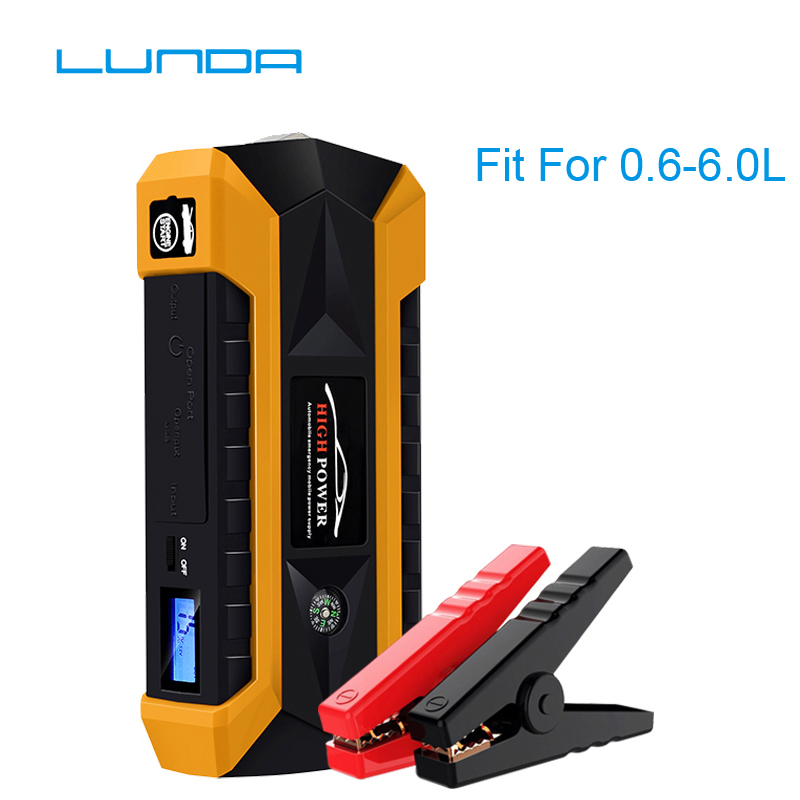 LUNDA Car Jump Starter 4USB Car battery 600A Peak Current For Starting Power Bank Auto Battery Portable Pack Booster 12000mah 600a peak portable car jump starter mobile daul usb power bank jump starting car charger for car battery booster