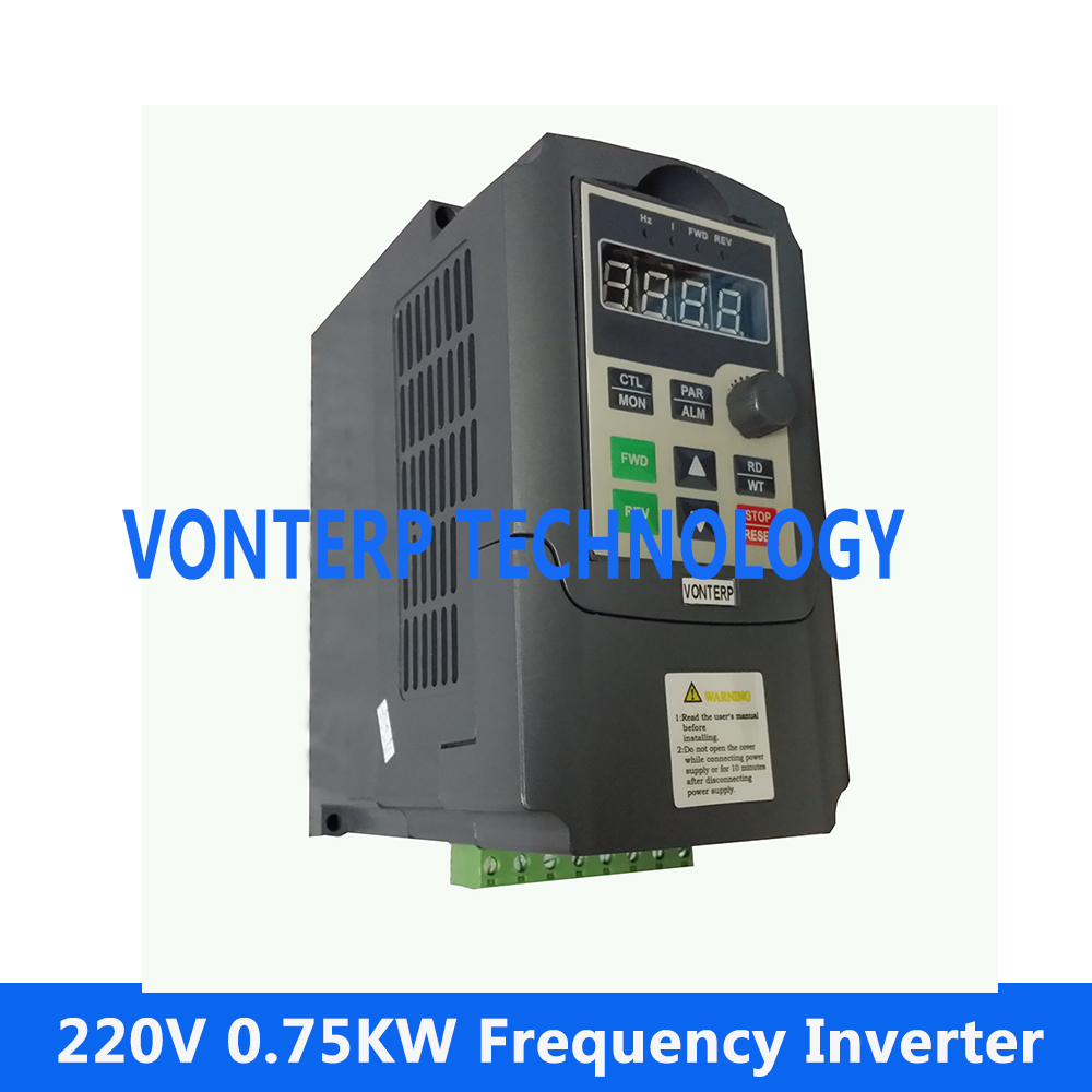 цены на 220v Single phase input and 220v 3 phase output Mini frequency converter for motor control 220v 0.75kw