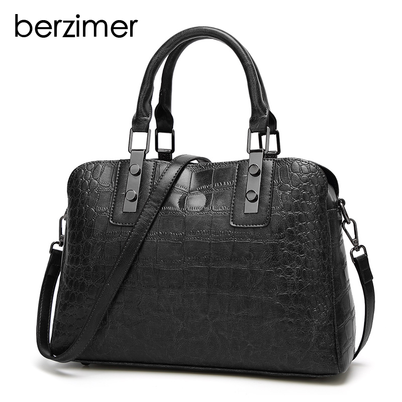 BERZIMER Fashion Classic Women Shoulder Bags Black Brown Green Red Handbags Large Capaticy Tote Bags for Women Girl Student цена