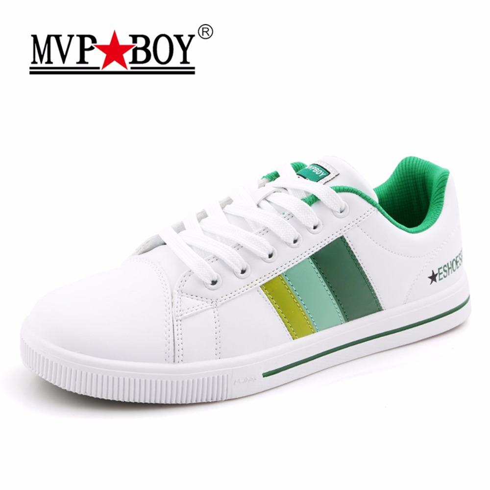 MVP BOY Brand Casual Men Shoes Summer Classic Comfort High Quality White Shoes Men Leather Casual Shoes Men Striped Flats Shoes monster mvp white