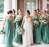 Mint Green Bridesmaid Dress Cheap Chiffon Summer Country Garden Formal Wedding Party Guest Maid of Honor Gown Plus Size