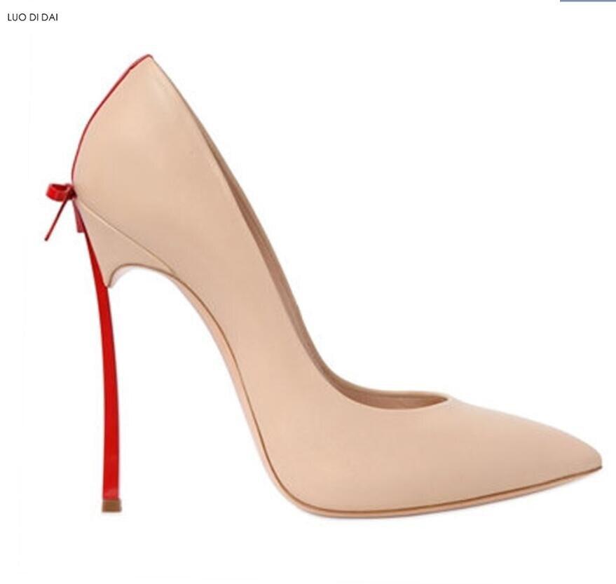 Talons as En Métal Pic 2019 De Bowtie Soirée Toe Verni Base as Pic nu Pic Point Mince Hauts Mode noir rouge Chaussures as blanc Talon Cuir Pompes Mariage Beige Femmes 8AAq61I