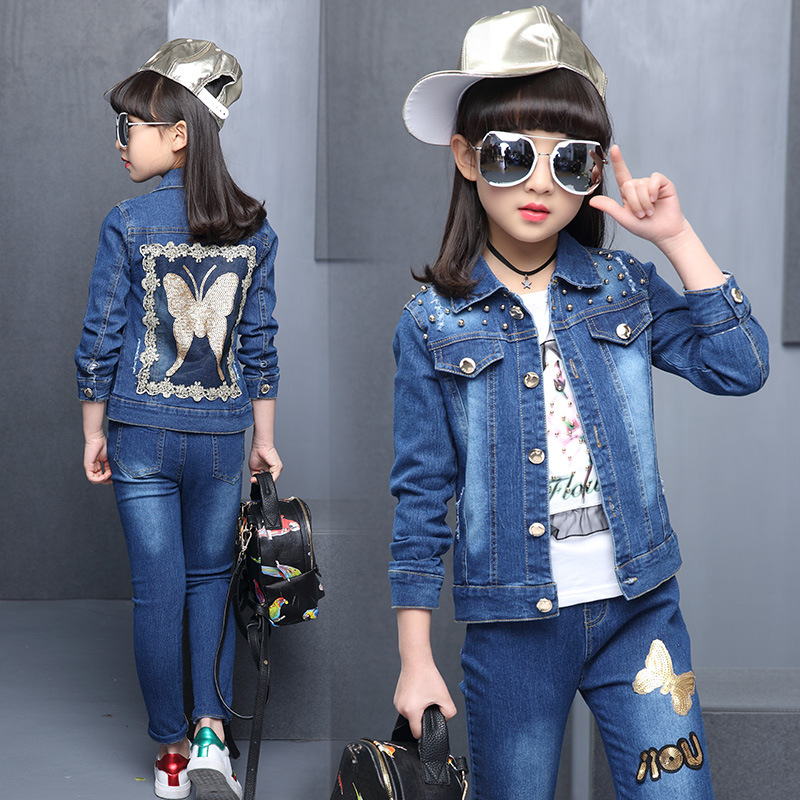 2018 New Children Sports Suit Girls Clothing Sets Butterfly Jeans Jacket+Pants Clothes Set Girl Outerwear