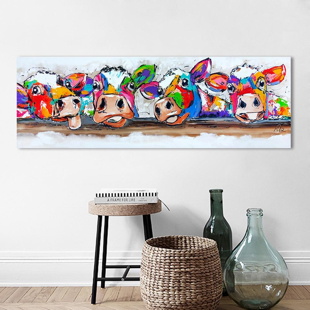HDARTISAN Vrolijk Schilderij Wall Art Canvas Happy Cows Painting Animal Picture Prints Home Decor No Frame