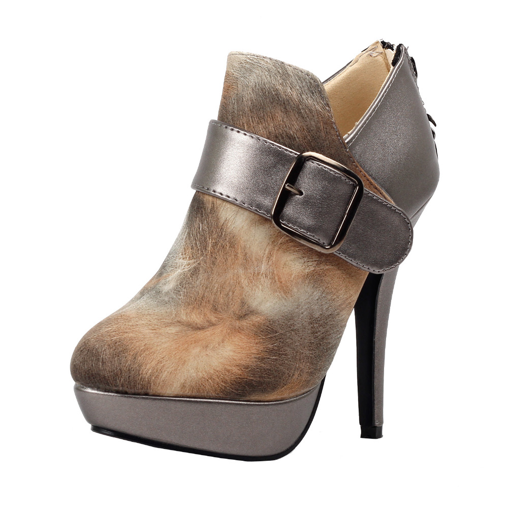 LF30305  Fab Brown Fur Print Buckle Zip Platform Stiletto Ankle Boots Size 4/5/6/7/8/9/10 mld lf 1127 ankle supports
