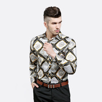 Seestern Brand Men's Shirts Fashionable Personality Characteristic Crown lattice Snake pattern Chain Printed Leisure Collar tops