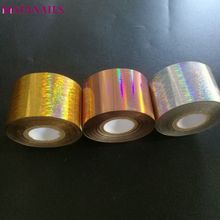 1 Roll Holographic Nail Foil Starry 4cm*120M Gold Silver Rose Rolls Transfer Sticker Manicure Art Decal XZ02