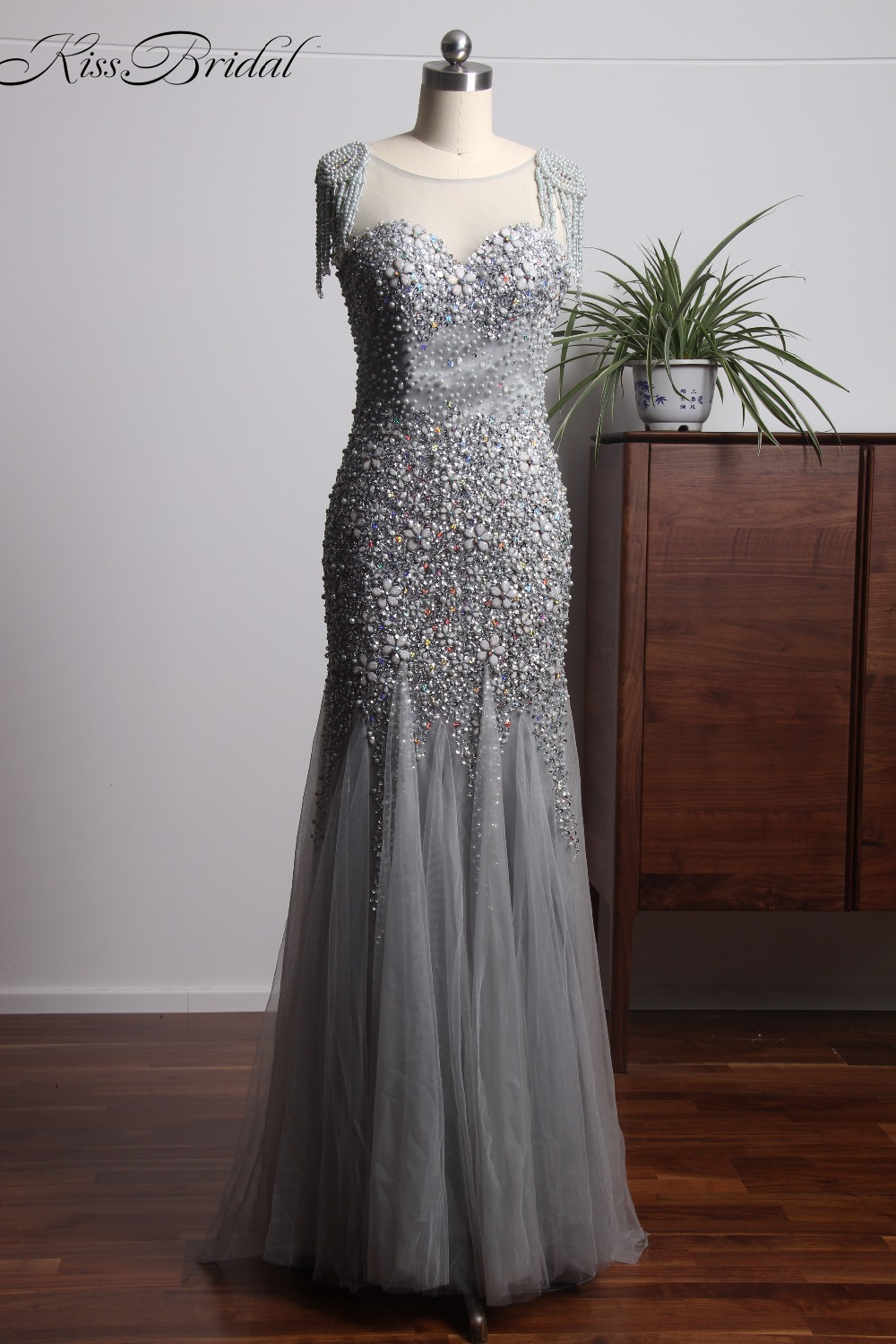 Fashionable Crystal Beading   Prom     Dresses   Long Tulle 2018 Illusion Neck Backless Mermaid Gray Evening Formal Gowns