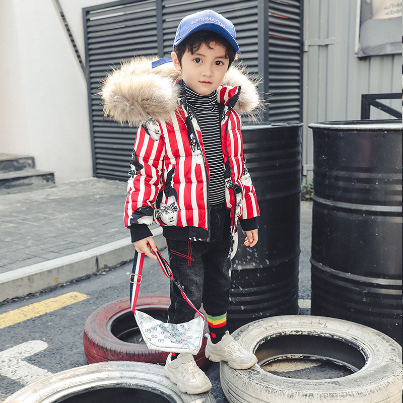 Boy Vertical striped Cotton Clothes Fur Collar Thicken Warm Boy Clothes Kids Coat For Boy Winter Clothes Charistmas Coat ролик д одежды master house к ролик 10 см 50 слоев