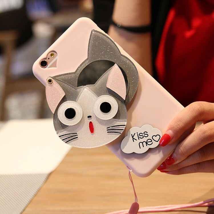 3D Bunga Kartun Kucing Makeup Cermin Mobile Shell Hadiah Mengirim Ponsel dengan Pin Pack untuk iPhone 6 6 S 7 8 Plus X XS Max XR