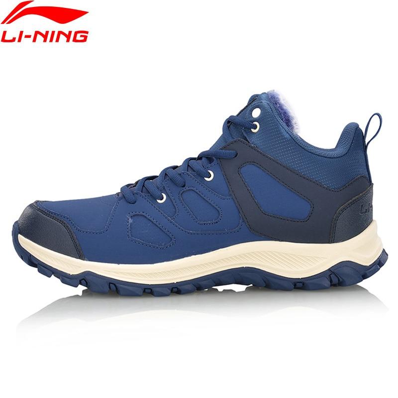 Li-Ning Winter Men Hiking Boots Hi Sneakers Walking Hiking Shoes Comfort WARM SHELL LiNing Sports Shoes AGCM189 YXB101 winter warm shoes mens high top hiking shoes athletics outdoor plush ankle boots men sports shoes comfortable climbing sneakers