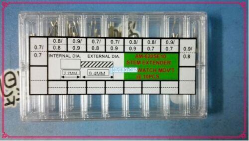 Envío Gratis 90 unids Nuevas Extensiones de Bobinadoras Reloj Parte Del Tallo de Reemplazo en 9 Tamaños Diferentes