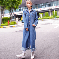 TWOTWINSTYLE 2017 Denim Rompers Women's Jumpsuit Jeans Overalls Blue Costumes for Women Long Sleeve Pants Casual Clothing