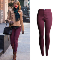 Ladies Free Shipping Stretch Jeans Pants Pants Tight Pencils High Waist Woman Jeans Sprinkle Red 8