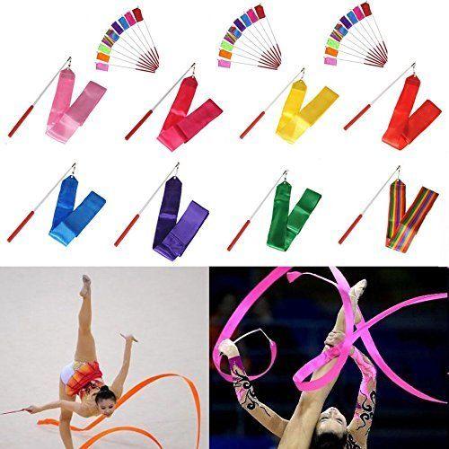 Professional 4m Colorful Gym Ribbons Dance Ribbon Rhythmic Art Gymnastic Ballet Streamer Twirling Rod Stick For Gym Training