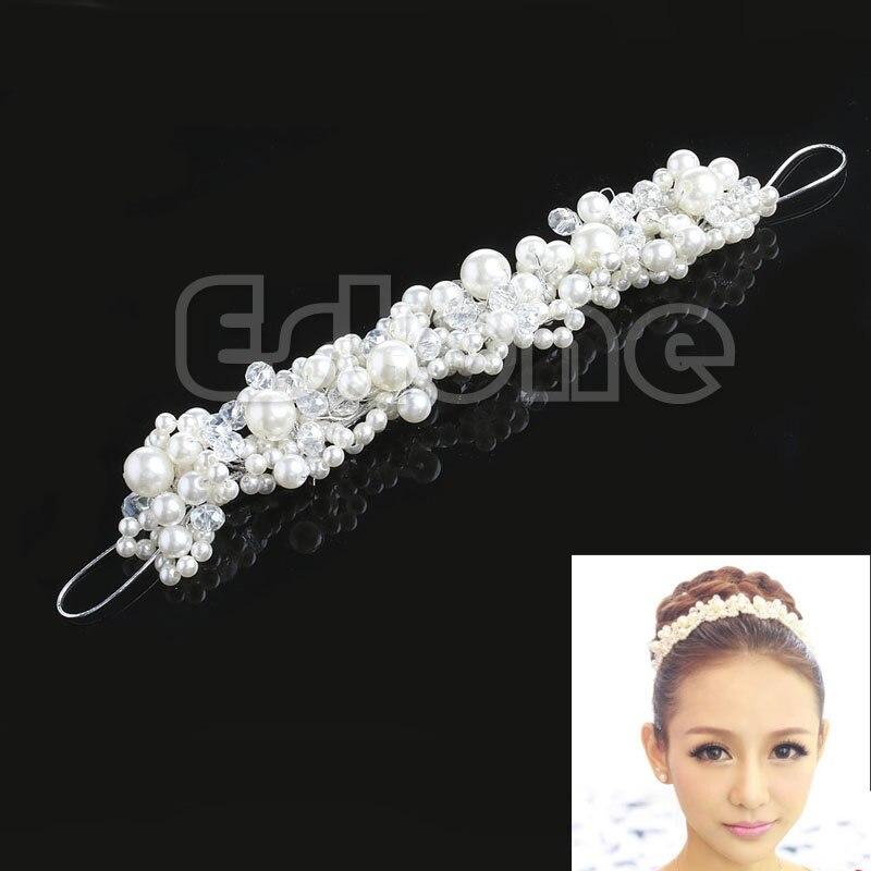 New Rhinestone Faux Pearl Wedding Bridal Prom Headband Tiara Headpiece Hair ClipT52