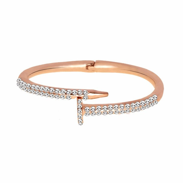 Fashion Unique Arm Cuff Bangle Bracelets for Women Stainless Steel Crystal Charm