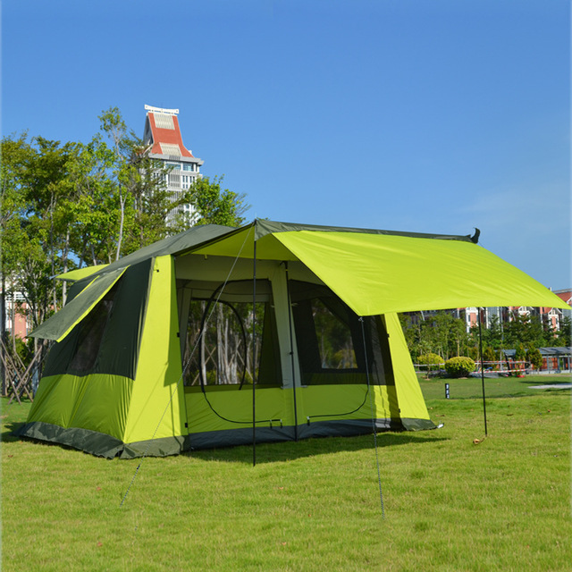 New Arrival 8-12 Person Ultralarge Double Layer Waterproof Windproof Super Strong Camping Tent Large Gazebo
