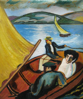 Hand Painted Abstract Seascape Oil Painting Sailing Boat On The Tegernsee August Macke Painting On Canvas