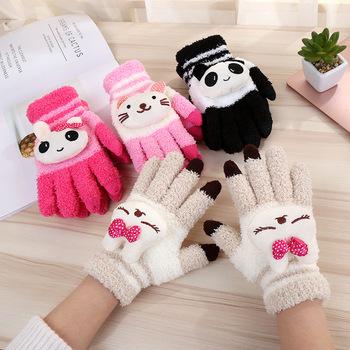 Damskie zimowe ciepłe śliczne rysunek przedstawiający pandę kot królik rękawiczki robione na drutach dziewczyna kobiety moda koralowe polarowe pełne rękawiczki mitenki A68 tanie i dobre opinie Nadgarstek NIUPOZ WOMEN Koral polar Dla dorosłych Drukuj Milk white Black Pink Rose Red Knitted gloves flexible suitable for Small hands women