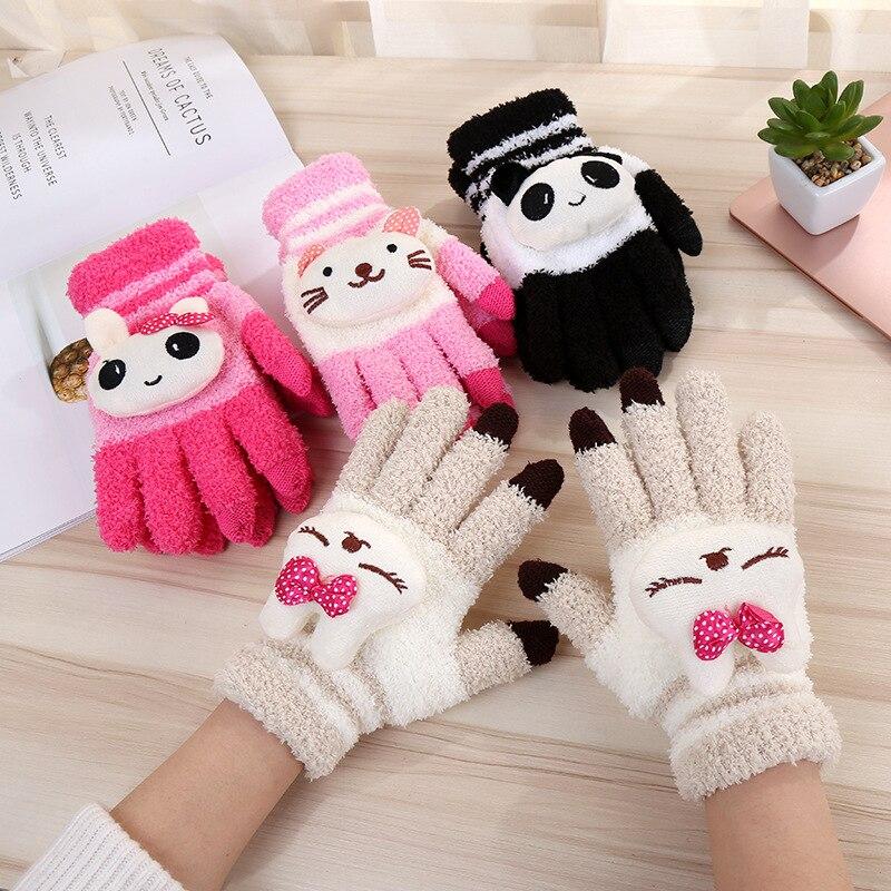 Female Winter Warm Cute Cartoon Panda Cat Rabbit Knit Gloves Girl Women Fashion  Coral Fleece Full Finger Mittens Gloves A68