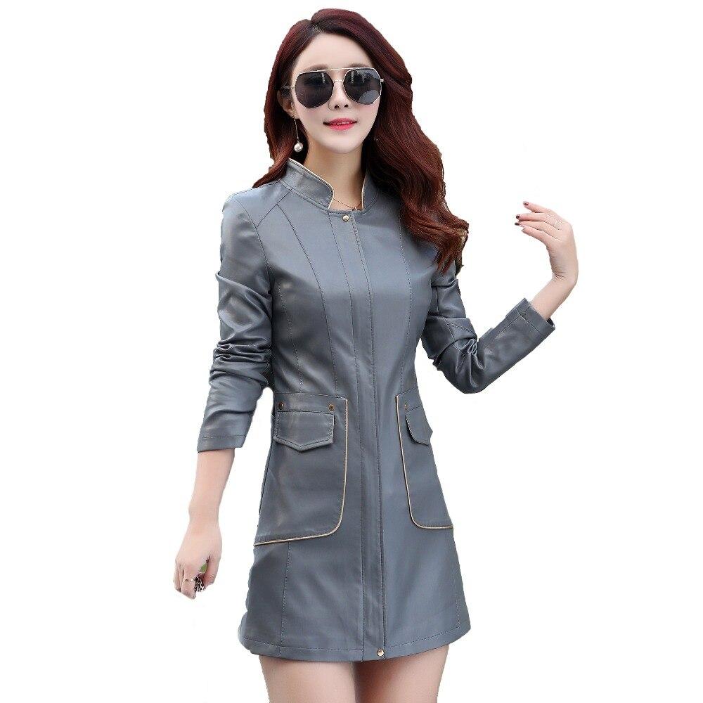 2018 Large Size M-4XL New Fashion Leather Jacket Womens Long Slim Women Clothing Jacket Women Coat Jacket Female Outerwear