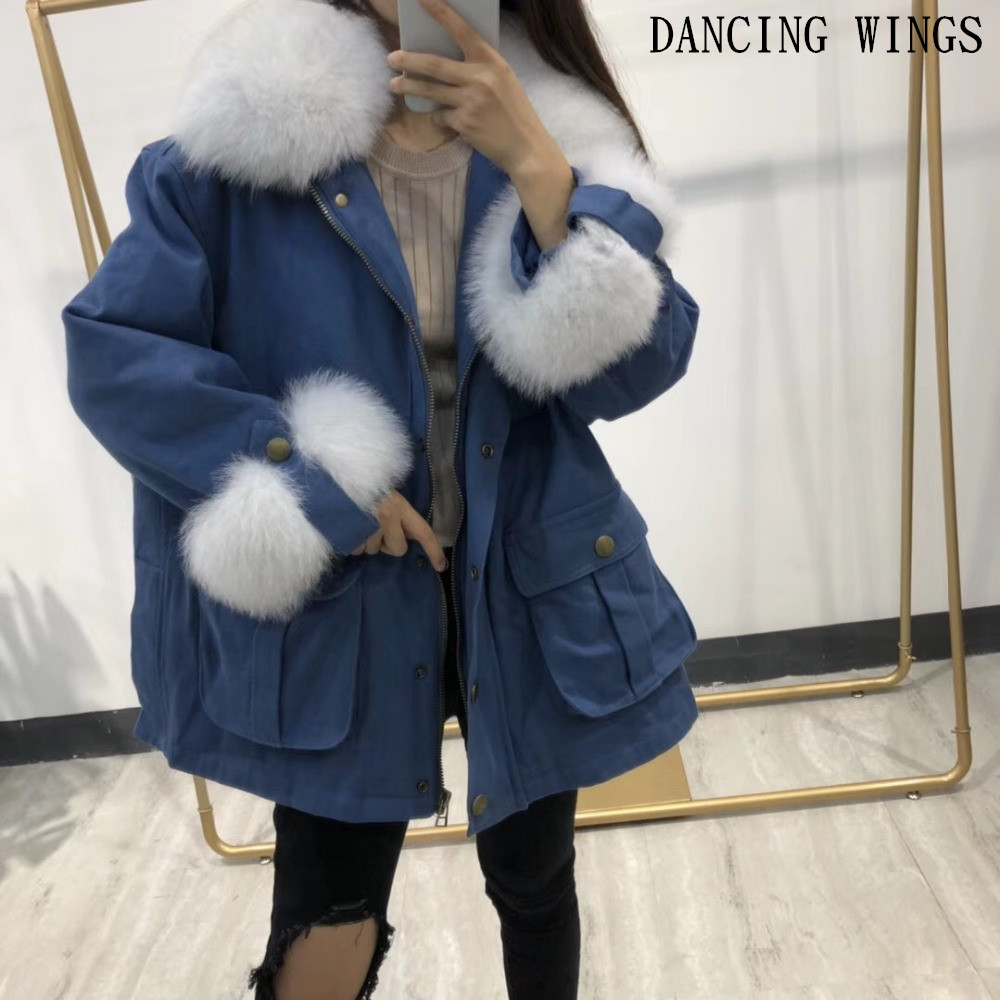 Winter Jacket Women Parka Real Fur   Coat   Natural Fox Fur Collar Cuffs Duck   Down     Coat   Outerwear