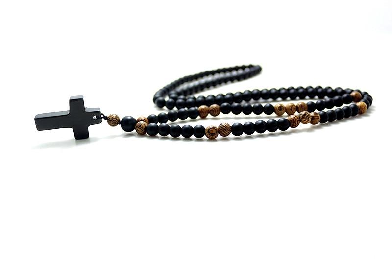 Qara daş xaç ilə 6MM Qara daş Taxta Muncuq Mendant Mens Rosary - Moda zərgərlik - Fotoqrafiya 4