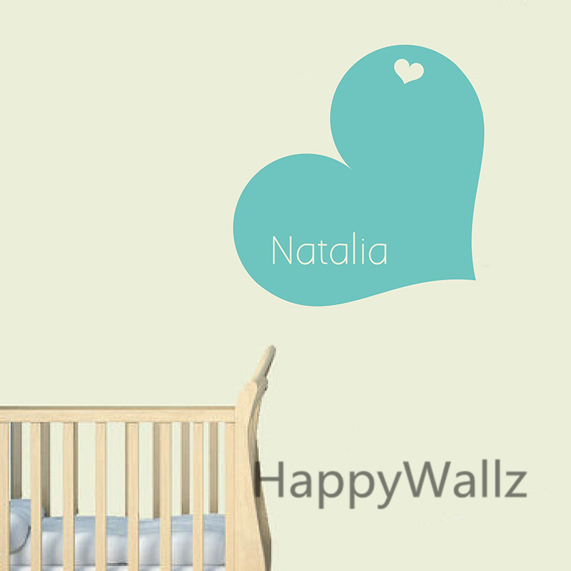 Love Heart Wall Sticker DIY Personalized Name Wall Decal Kids Room Baby Nursery Custom Name Wall Stickers C57