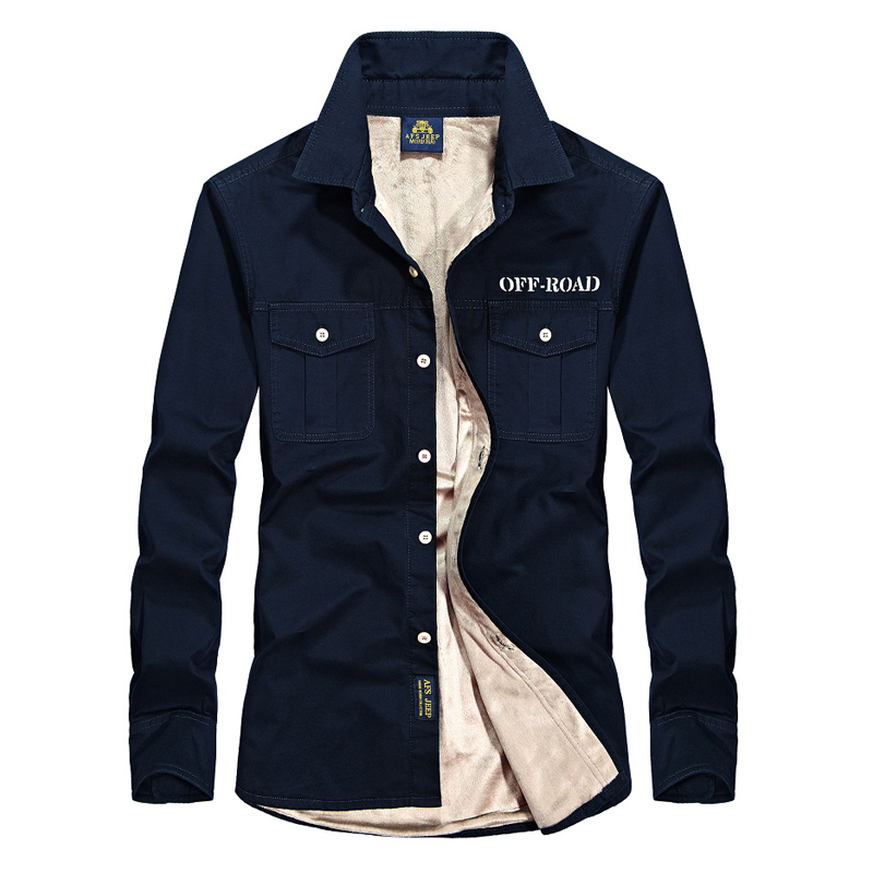 AFS JEEP Thicken warm shirt men long sleeve brand fleece shirt casual cotton chemise homme mens dress shirt plus size S 4XL