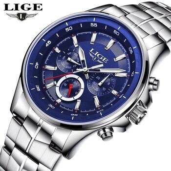 LIGE Sport Men Watch Brand Quartz Wrist Watch Men 2017 Calendar Waterproof Military Army Male Clock Relogio Masculino Hodinky 46 lige horloge 2017