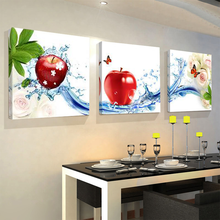 Hot Sale 3 Panel Unframed Kitchen Wall Art Posters Fashion Home Decoration Modular Picture Flower Fruit Canvas Painting Unframed