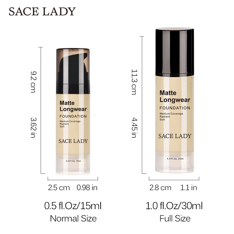 SACE LADY Face Foundation Cream Base Makeup Professional Matte Finish Make Up Liquid Concealer Waterproof Brand Natural Cosmetic 4