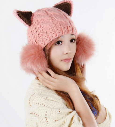 1x New Arrival Cat Ear Hat, Winter Women Fashion Acrylic Bobble Head Devil Horns Knitted Cap Skullies Beanies With Faux Fur Ball large 24x24 cm simulation white cat with yellow head cat model lifelike big head squatting cat model decoration t187