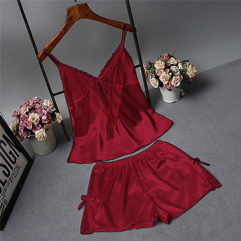 women's   pajamas   Sleeveless Strap   Pajama     Set   Satin silk home clothes for women sexy lace sleepwear red chemise de nuit femme 2019