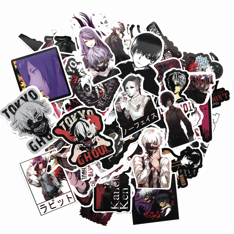 50Pcs/Lot Japan Anime Tokyo Ghoul For Luggage Laptop Skateboard Car Bicycle Backpack Decal Pegatinas Toy Stickers cool DIY decal