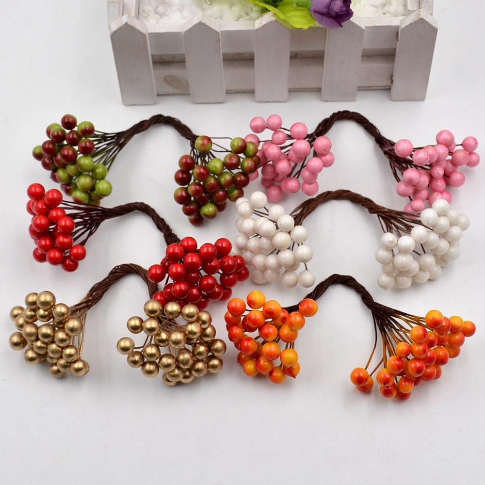 25pcs 50heads Artificial Flower Mini Berry Bacca  Bouquet For Wedding Decoration DIY Scrapbooking Decorative Wreath Fake Flowers