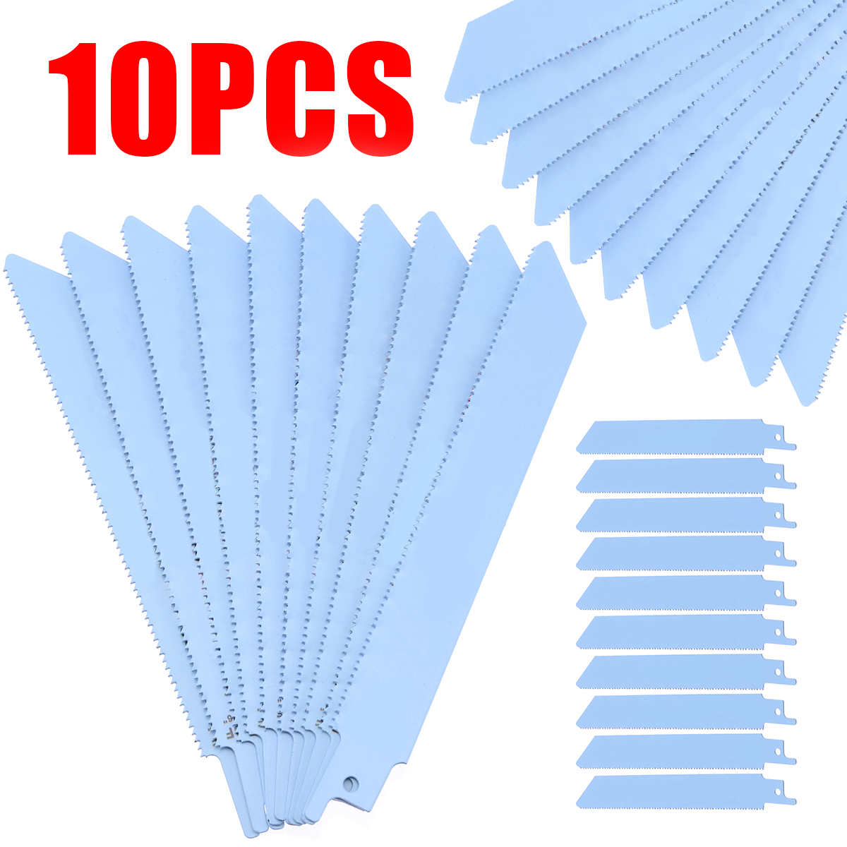 10Pcs 6'' Blue Reciprocating Saw Blades 150mm S922BF Reciprocating Sabre Saw Blade Hand Power Tools For Metal Cutting Saw Blades