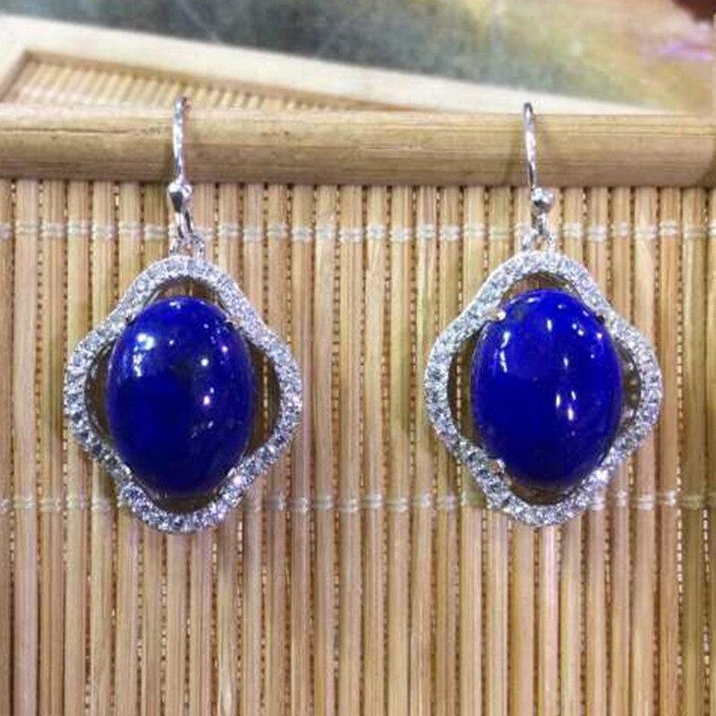 Green Jin Shidan Form Dangler Blue Silver Inlaid Ethnic Wind Lapis Earrings