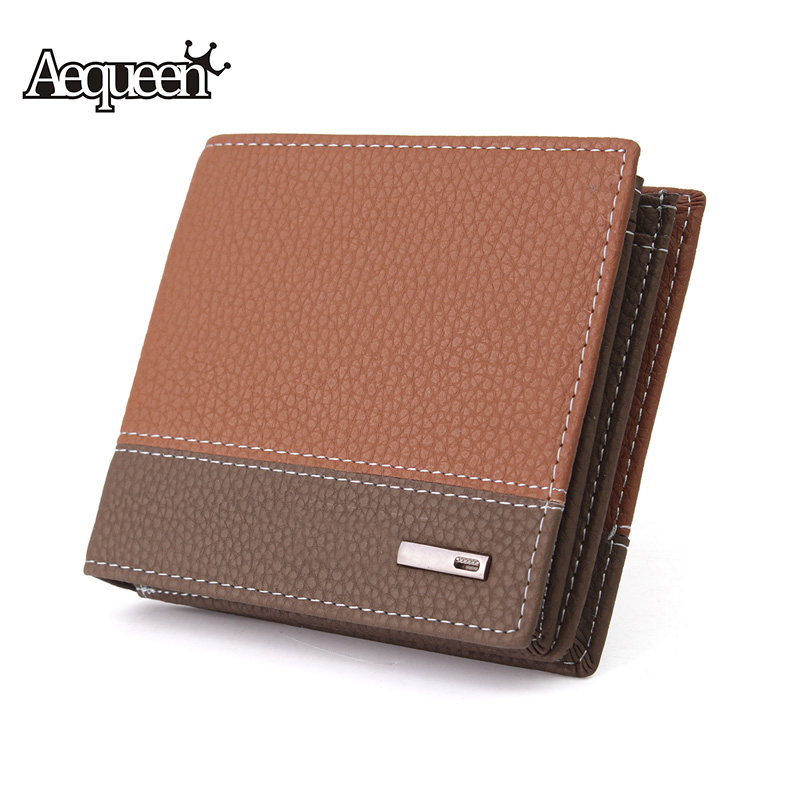 AEQUEEN Man Wallet PU Leather Short Purse Men Embossed Credit Card Holder Business Male Patchwork Panelled Pouch Standard Purses macygraymg real crocodile leather wallet man purse business purse men leisure wallet men short wallet