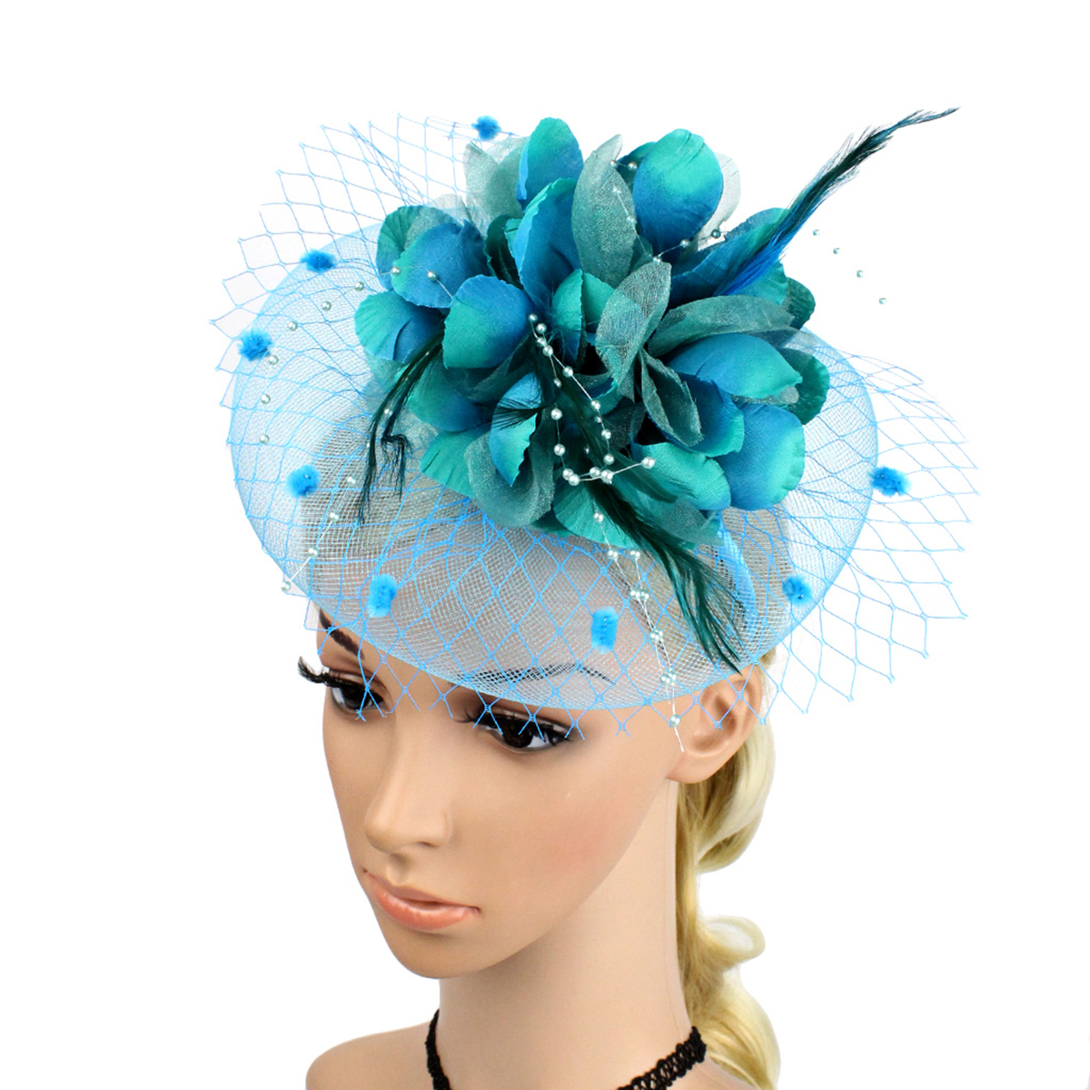MUSEYA Feather Flower Net Hairpin Bride Headdress Bridal Feather Hairclip Wedding Headpiece Cocktail Party Headwear headpiece