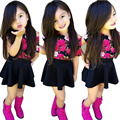 Hot New 2017 Summer Baby Girls Cute Floral T Shirts + Skirt Set Children Kids Short Sleeve Fashion Outfit Party Suit Clothing Z1