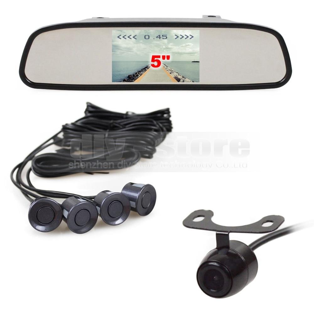 ФОТО DIYKIT 5 Inch Rear View Mirror Car Monitor Kit + Rear View Car Camera Video Parking Radar + 4 Sensors