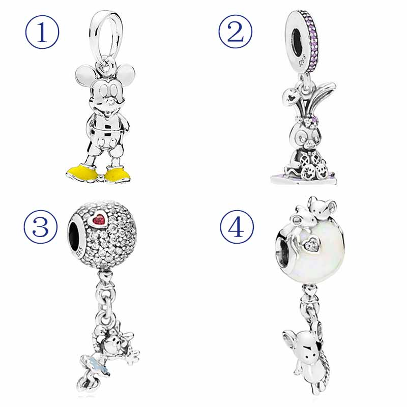 Shoes Mickey Floating Minnie Mouse On Glittering Balloon Pendant Charm Fit Pandora Bracelet 925 Sterling Silver Bead Jewelry