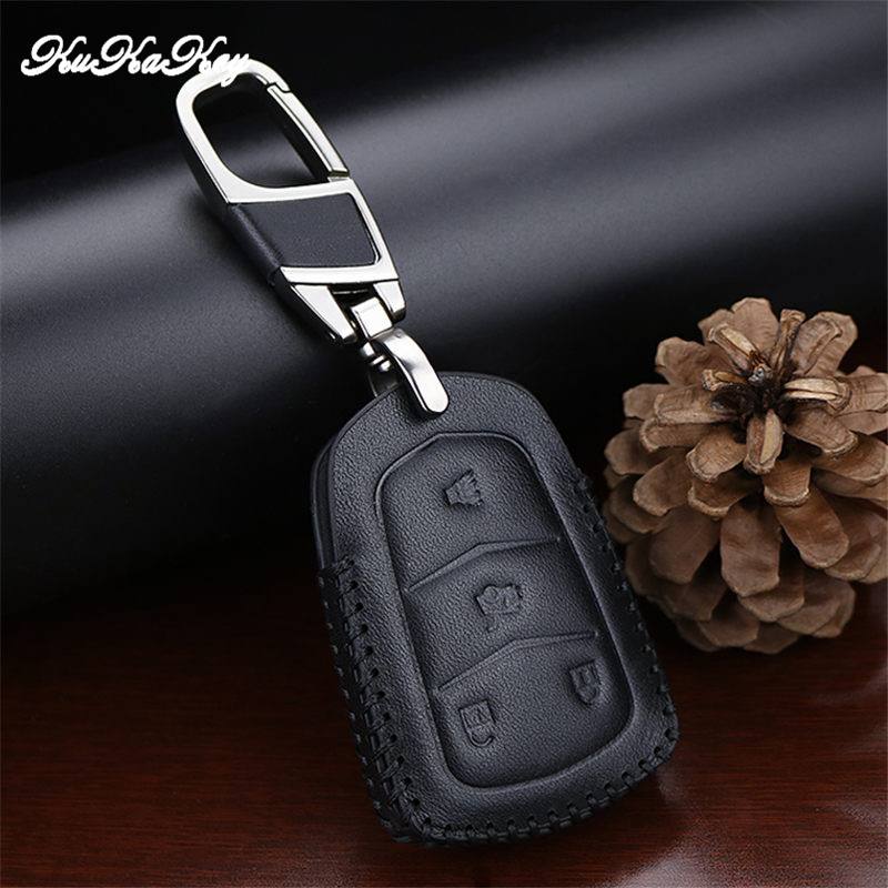 Car Key Case Cover For Cadillac Escalade ESV XTS ATS CTS SRX 6BT CT6 ATS L XT5 BLS Key Ring Genuine Leather Smart Key Holder in Key Case for Car from Automobiles Motorcycles