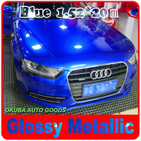 Super Glossy Metallic Glossy Blue Car Wrap Film Metal Blue Vinyl With Air Release Full Car Wrap Auto Styling Size:1.52*20M/Roll