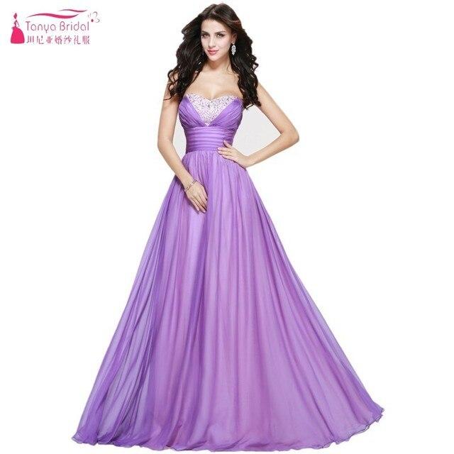 Sweetheart Pink Light Purple Long Chiffon Prom Dresses Lavender A ...