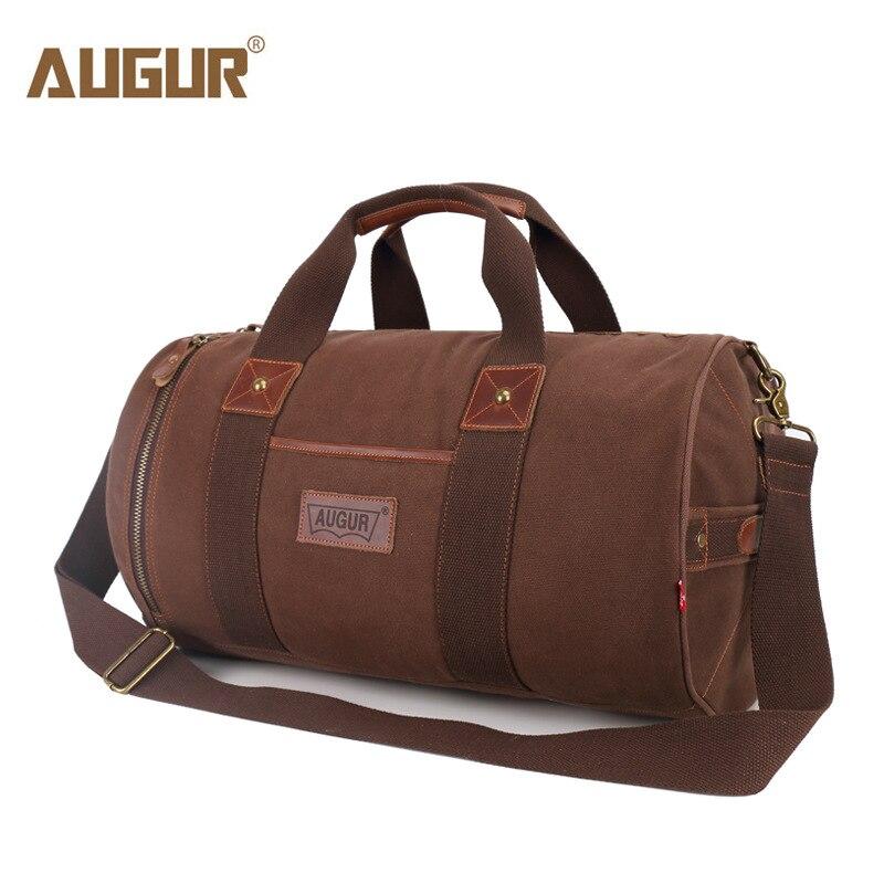 AUGUR nouvelle toile en cuir porter des sacs de bagages hommes sacs de voyage hommes fourre-tout de voyage grande capacité sac de week-end sacs de voyage de nuit
