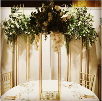 Wedding Metal Gold or silver Color Flower Vase Column table Stand for Wedding Centerpiece Decoration